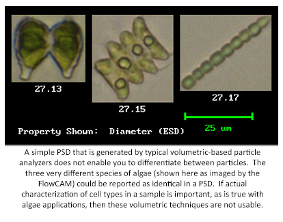 Differentiating algae species with the FlowCam