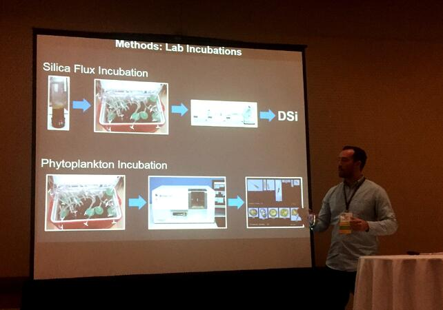 Nicholas Ray presenting FlowCam research at CERF 2017